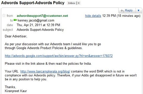 Screenshot of email explaining Adwords policy